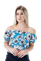 Racana - Blusa Feminina Adulto Ciganinha Floral Azul - RAC-1364-AZ -