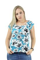 Racana - Blusa Feminina Adulto Ciganinha Floral Azul - RAC-1365-AZ -