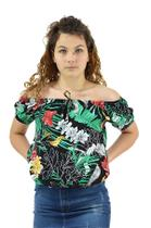 Racana - Blusa Feminina Adulto Ciganinha Floral Preto - RAC-1364-PT -