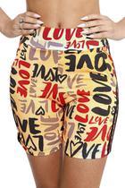 Racana - Shorts Ciclista Adulto Feminina Love laranja - RAC5401-LR -