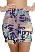 Racana - Shorts Ciclista Adulto Feminina Love Roxo - RAC5401-RX -