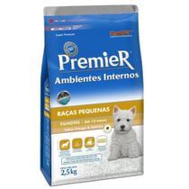 Ração Premier Ambientes Interno Cães Filhotes Raças Pequenas Sabor Frango e Salmão 12 kg -