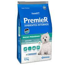 Ração Premier Ambientes Internos Para Cães Adultos de Raças Pequenas Sabor Frango e Salmão 12 Kg -