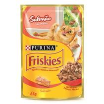 Ração Úmida Friskies Sachê para Gatos Adultos Sabor Salmão ao Molho - 85g - 1 unidade - Purina -