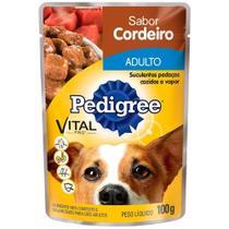 Ração Úmida para Cachorro Pedigree Premium Adulto Sachê Cordeiro 100g Embalagem c/ 18 unidades -