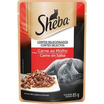 Ração úmida sachê sheba sabor carne ao molho para gatos adultos 85g -