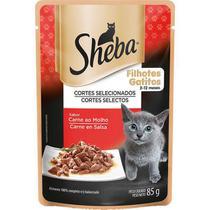 Ração úmida sachê sheba sabor carne ao molho para gatos filhotes 85g -