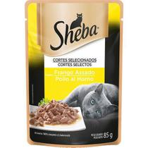 Ração úmida sachê sheba sabor frango assado para gatos adultos 85g -