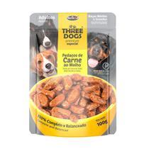 Ração Úmida Sachê Three Dog para Cães Adultos de Médio e Grande Porte Sabor Carne 100g - Three Dogs
