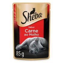 Ração Úmida Sheba Sachê Cortes Selecionados Sabor Carne ao Molho Para Gatos Adultos 85 g -
