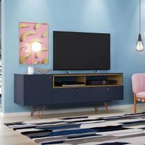 Rack Alasca Azul Marinho e Freijó 162 cm - Olivar móveis