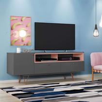 Rack Alasca Grafite e Rosé 162 cm - Olivar móveis