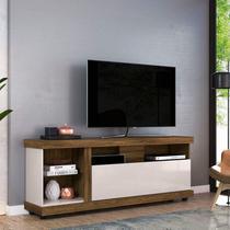 Rack Bancada para TV até 70 Polegadas 1 Porta 4 Nichos Ilhabela Colibri Canela Rústico/Off White -