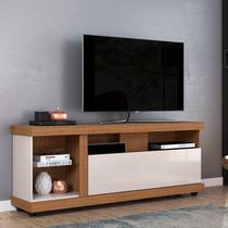 Rack Bancada para TV até 70 Polegadas 1 Porta 4 Nichos Ilhabela Colibri Natura Real/Off White -