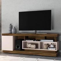 Rack Bancada para TV até 75 Polegadas 1 Porta 5 Nichos Tijuca Colibri Canela Rústico/Off White -