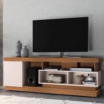 Rack Bancada para TV até 75 Polegadas 1 Porta 5 Nichos Tijuca Colibri Natura Real/Off White -