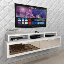 Rack Bancada Suspenso 1,50m p/ TV C/ gvt espelhada -  BTV02 BRANCO - Camarim Móveis