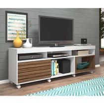 Rack Bolzano Branco e Amendoa 180 cm - Olivar móveis
