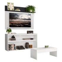 "Rack c/ Painel e Suporte TV 55"" com Mesa de Centro Atualle Plus Multimóveis Branco/Preto -"