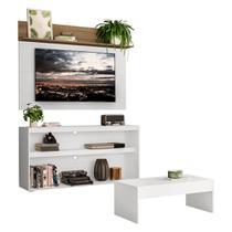 "Rack c/ Painel e Suporte TV 55"" com Mesa de Centro Atualle Plus Multimóveis Branco/Rustic -"