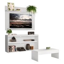 "Rack c/ Painel e Suporte TV 55"" com Mesa de Centro Atualle Plus Multimóveis Branco -"