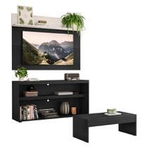 "Rack c/ Painel e Suporte TV 55"" com Mesa de Centro Atualle Plus Multimóveis Preto/Branco -"