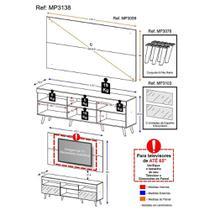 """Rack c/ Painel p/ TV 65"""", espelho e pés retrô Flórida Multimóveis Preto -"""