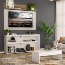 """Rack c/ Painel TV 55"""" com Mesa de Centro Atualle Plus Multimóveis Branco/Rustic -"""