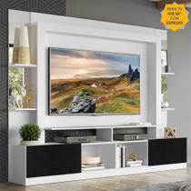 "Rack c/ Painel TV 65"" Prateleiras c/ Espelho Oslo Multimóveis Branco/Preto -"