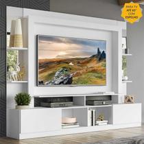 "Rack c/ Painel TV 65"" Prateleiras c/ Espelho Oslo Multimóveis Branco -"
