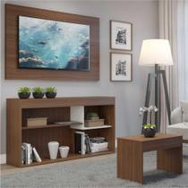 Rack c/Painel TV até 55 Pol. e Mesa Centro Dubai Multimóveis Nogueira/Branco Polar REF.2830.935 -