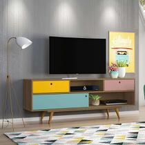Rack Color Freijó e Colorido 162 cm - Olivar Móveis