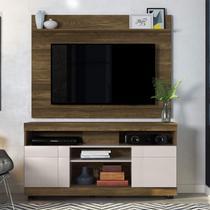 Rack com Painel Home para TV até 55 Polegadas 2 Portas Yara Maia Colibri Móveis Canela Rústico (Fosco) / Off White  (Brilho) -