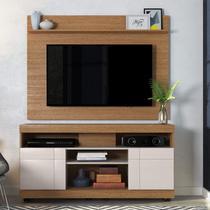 Rack com Painel Home para TV até 55 Polegadas 2 Portas Yara Maia Colibri Móveis Natura Real (Fosco) / Off White (Brilho) -