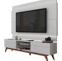 Rack com Painel Para TV 55 Polegadas Branco Classic 2G 1.8 com LED - Imcal Móveis -