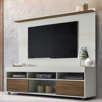 Rack com Painel Para TV 60 Polegadas Samba 1.6 Espresso Móveis Off White/Nogueira -