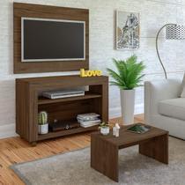 Rack com Painel para TV até 32 Polegadas e Mesa de Centro Star Artely Amendoa -