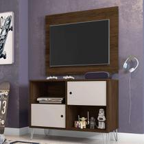 Rack com Painel para TV até 42 Polegadas Qatar Cedro e Nude 82 cm - Móveis leão