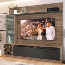 Rack Com Painel Para Tv Até 50 Polegadas 3 Portas Marrom/preto 2021 - Quiditá Móveis -