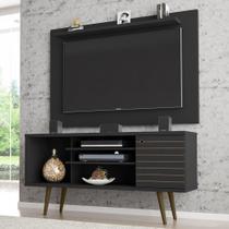 Rack Com Painel Para Tv Até 50 Polegadas Maine Preto Fosco - Pnr Móveis -