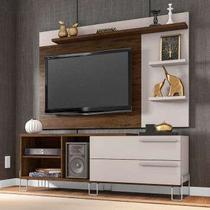 Rack com Painel para TV até 50 Polegadas Portugal Cedro e Nude 160 cm - Móveis leão