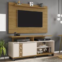 Rack Com Painel Para Tv Até 50 Polegadas Topázio Cinamomo/off-white - Móveis Bechara -