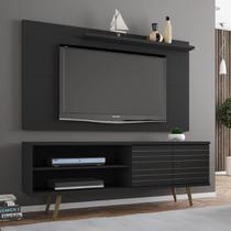 Rack Com Painel Para Tv Até 50 Polegadas Utah Preto Fosco - Pnr Móveis -