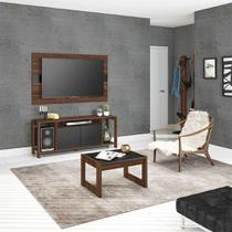Rack com Painel para TV até 55 Polegadas Calmon Nogal e Preto 136 cm - Tecno mobili