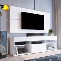 Rack com Painel Para TV até 55 Polegadas e 1 Porta Miami Beach Espresso Móveis Branco -