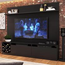 Rack Com Painel Para Tv Até 60 Polegadas 2 Portas 2023 Ptw Preto Wood - Quiditá Móveis -
