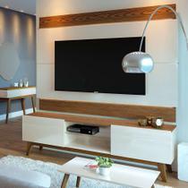 Rack com Painel para TV até 60 Polegadas Classic Off White com Freijó Touch 180 cm - Imcal