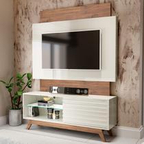 Rack Com Painel Para Tv Até 65 Polegadas 100% Mdf Tb151 Off White/nobre - Dalla Costa -