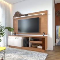 Rack com Painel para TV até 65 Polegadas 2 Portas com Espelho Astúrias Colibri Móveis Natural Real/Off White -