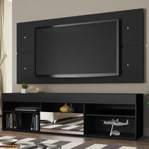 Rack com Painel para TV até 65 Polegadas Madesa London 1 Porta com Espelho - Preto -